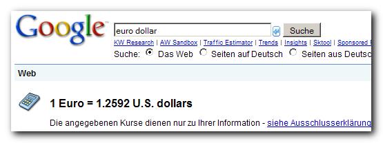 Aktueller Kurs Dollar Euro Umrechnung