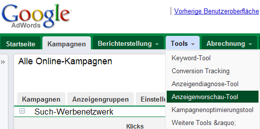 Google AdWords neue Oberfläche