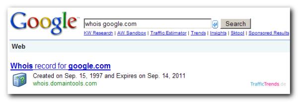whois-Abfrage Google